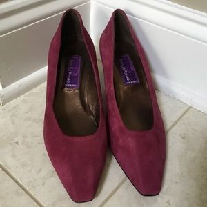 NEW Vintage PHYLLIS POLAND burgundy suede heel 9.5